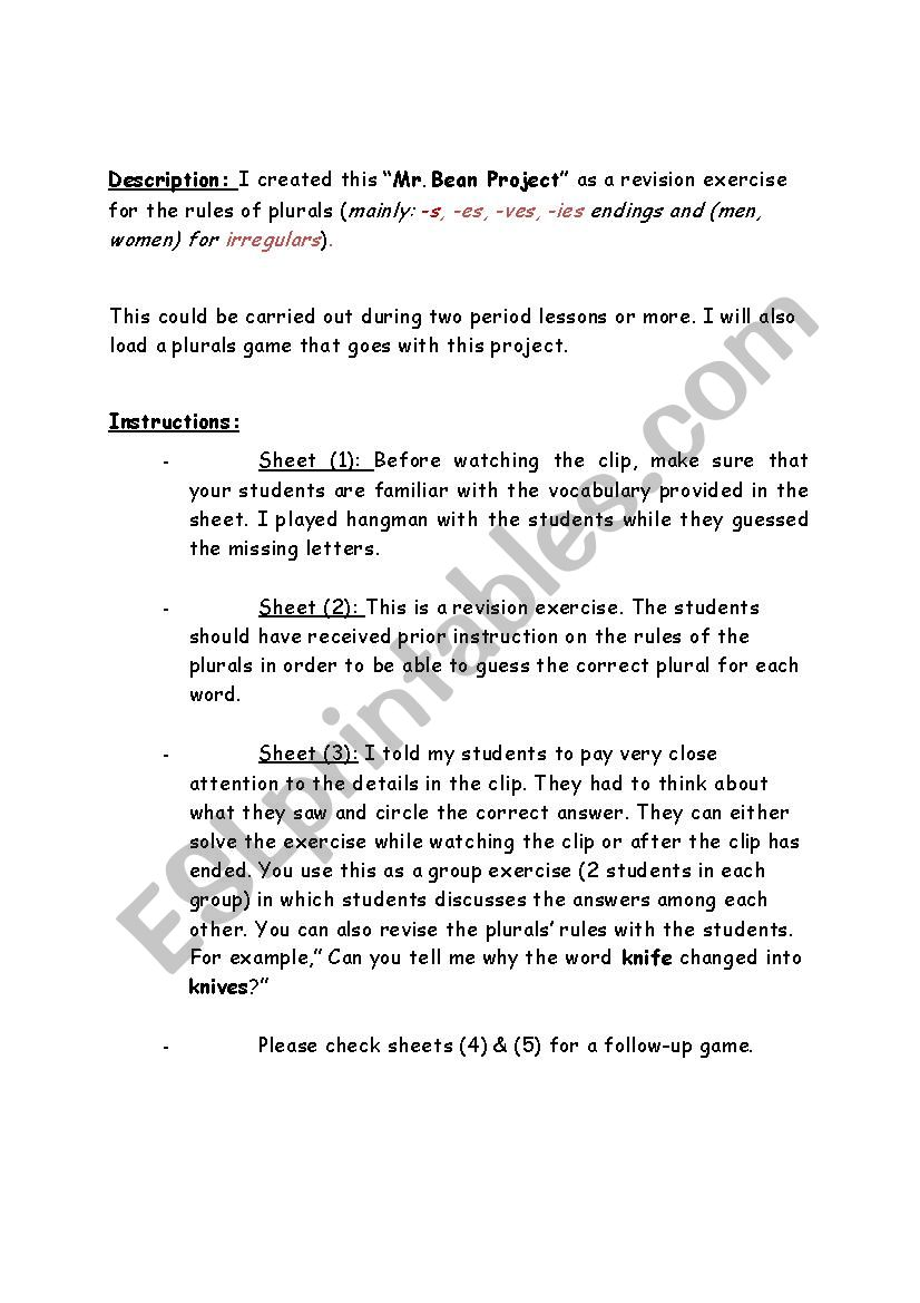 English worksheets mr bean project do it yourself part 1 mr bean project do it yourself part 1 solutioingenieria Images