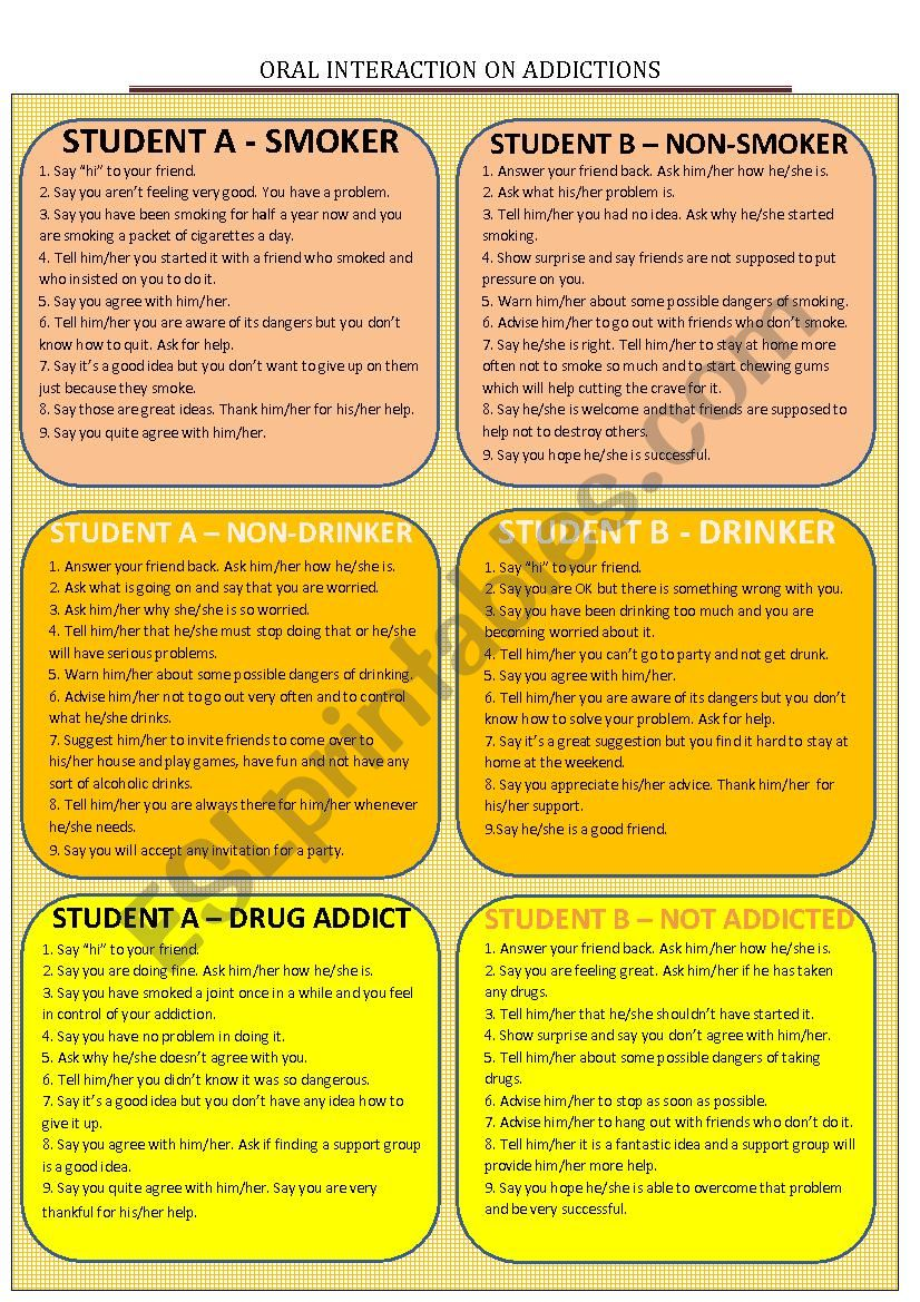 Oral interaction - addictions worksheet