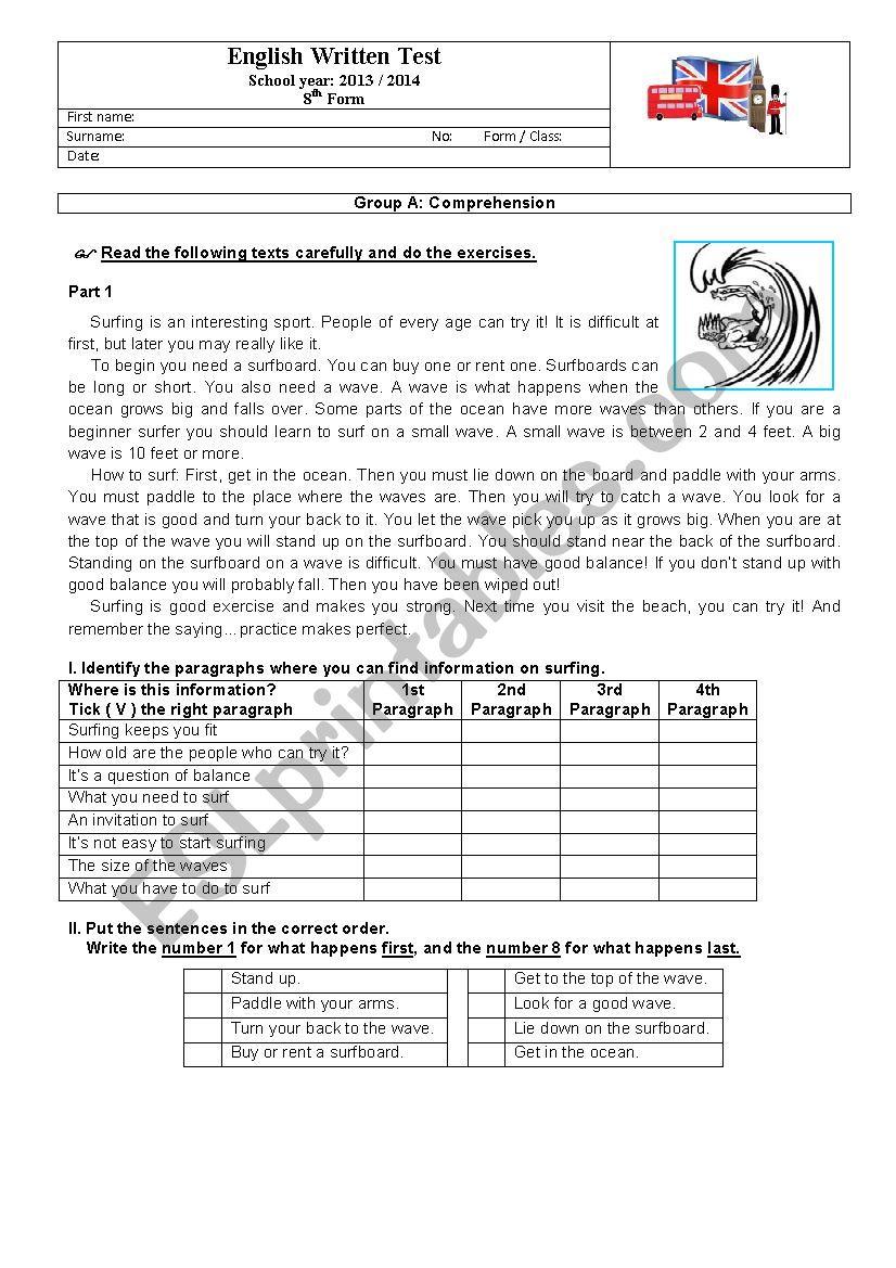 Test - Sports worksheet