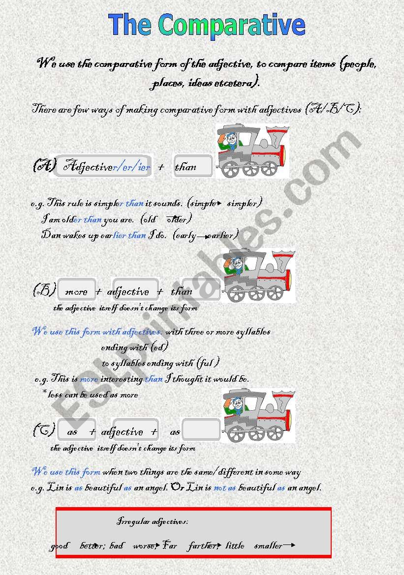 The Comparative worksheet