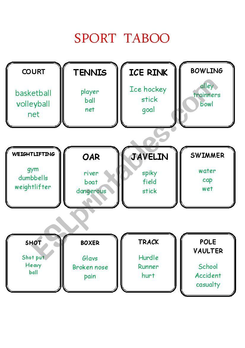 SPORT TABOO part1 worksheet