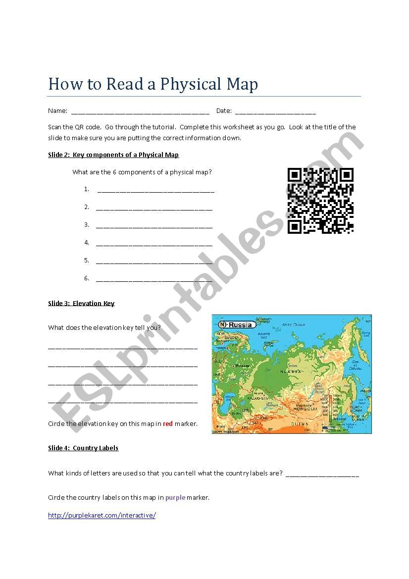 How to Read a Physical Map worksheet