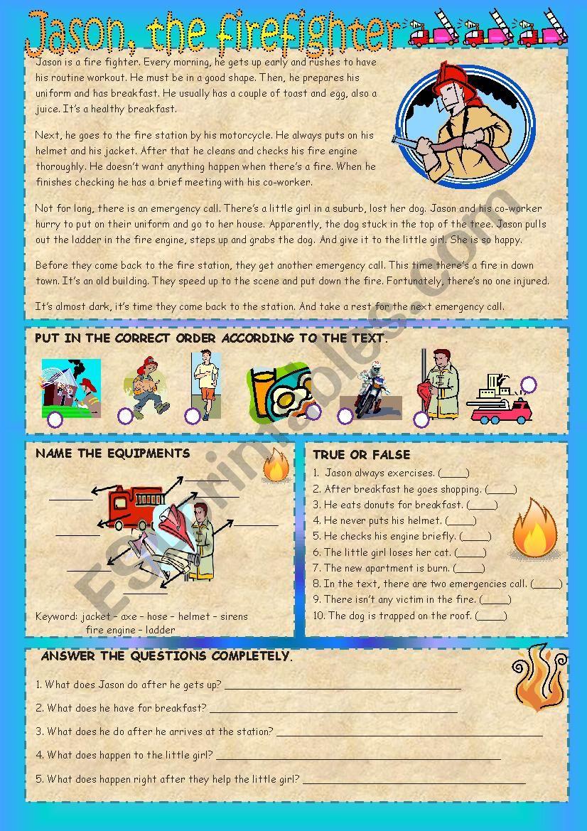 Jason the Fire Fighter worksheet