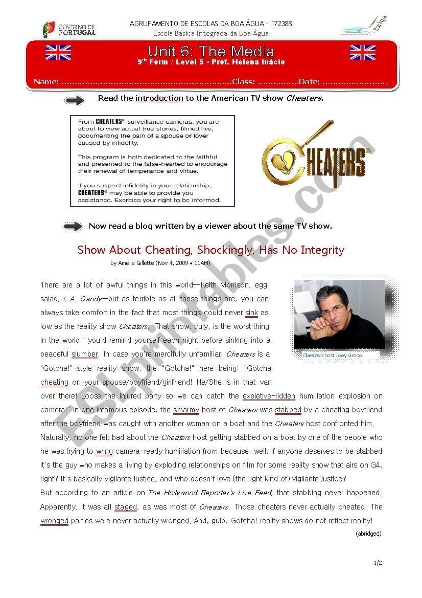 TV Show Cheaters worksheet