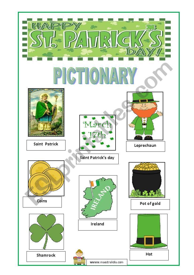SAINT PATRICK´S PICTIONARY worksheet