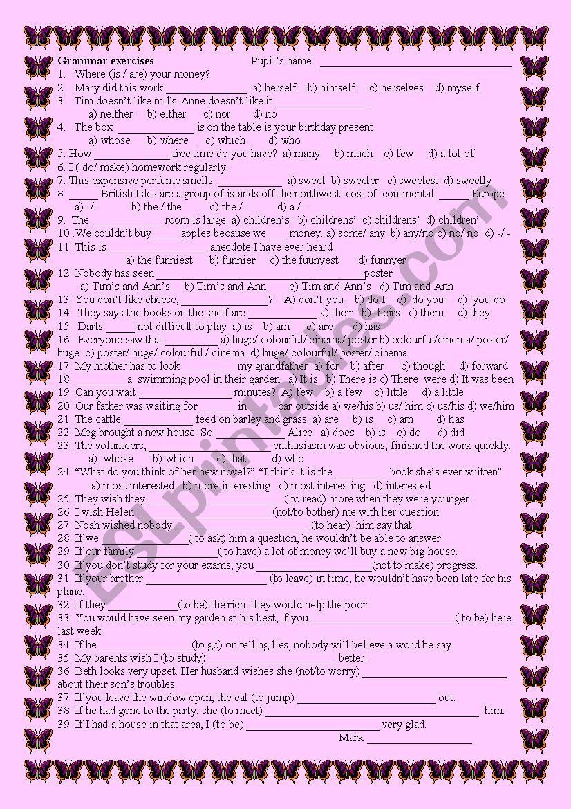 Grammar exercise worksheet