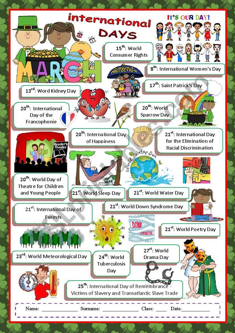 March International Days worksheet