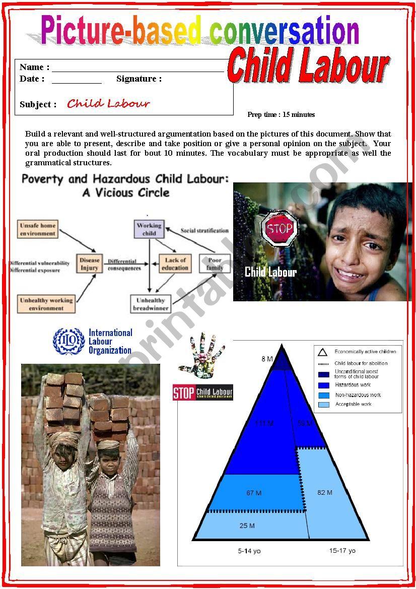 Picture based conversation.  Child Labour (Debating) 6/…