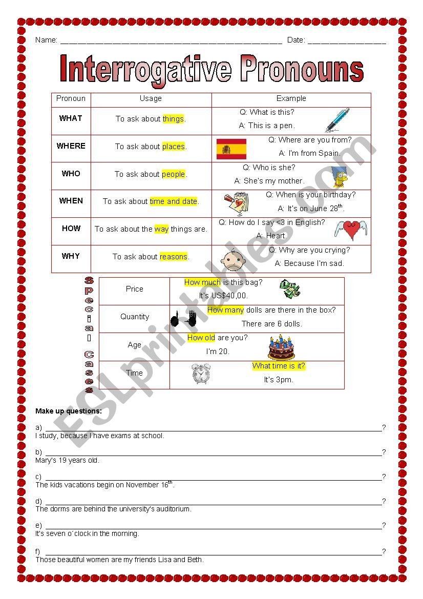 Interrogative Pronouns Esl Worksheet By Marcelakemp