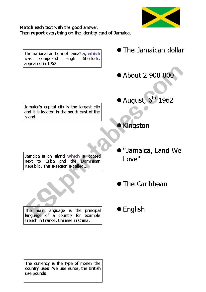 Reading comprehension matching Jamaica