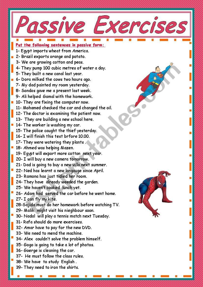 passive voice exercises worksheet