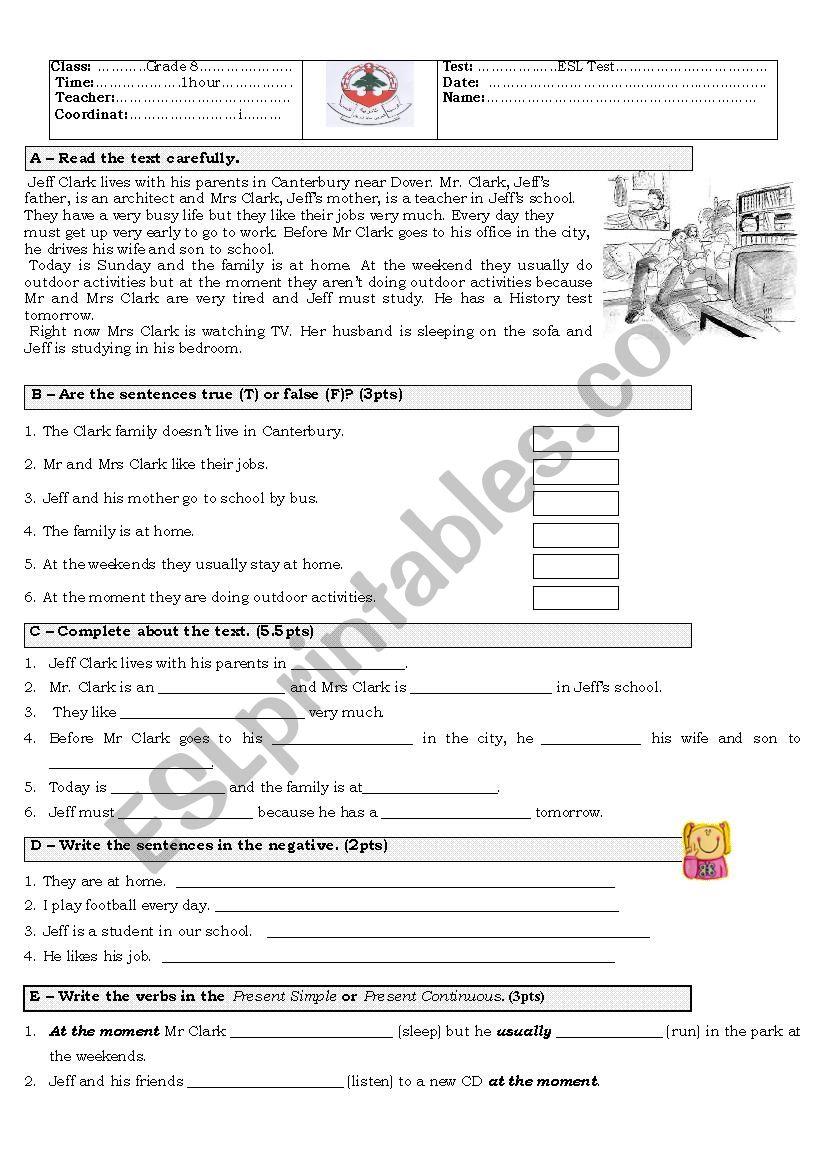 - Grade 8 ESL Test - ESL Worksheet By Bisseh22