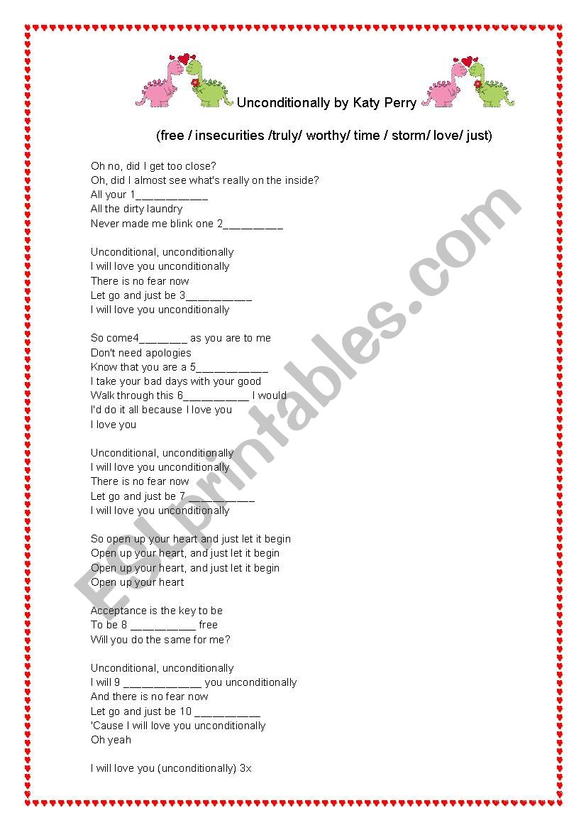 Unconditionally by Katy Perry worksheet