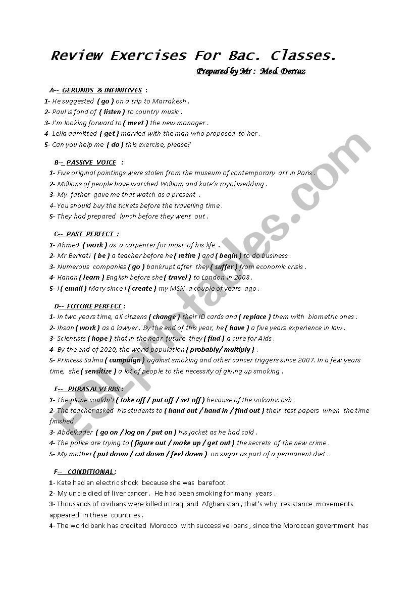 Review Exercises  worksheet