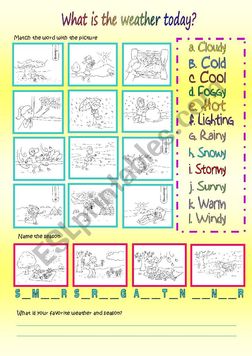 What is the weather today? worksheet