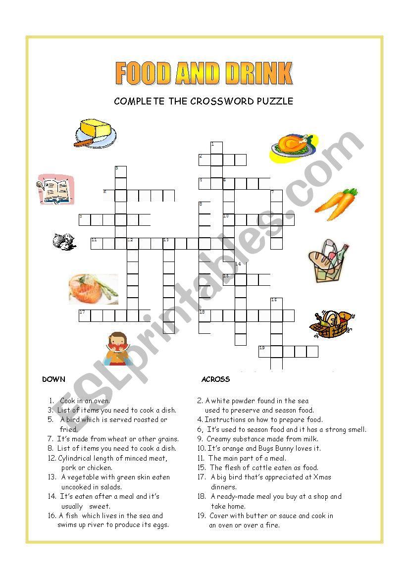 Food and Drink crossword worksheet