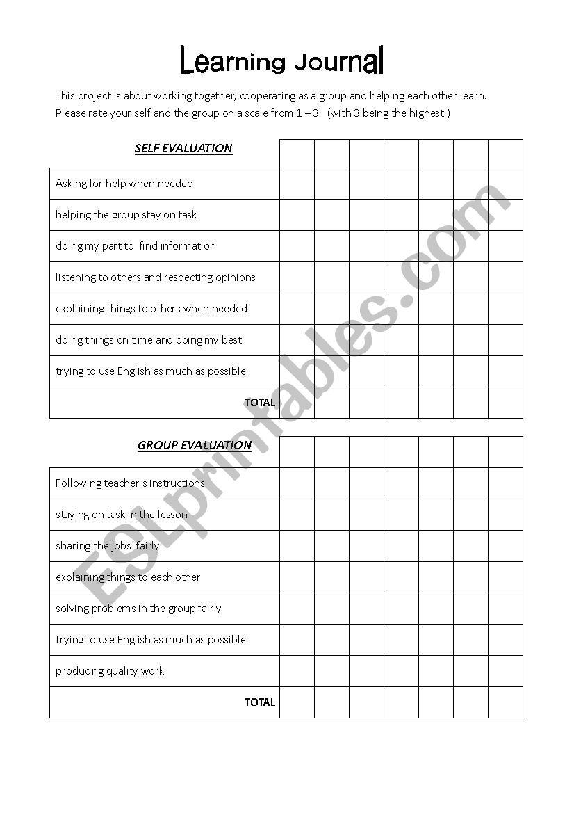 Group work Self Evaluation  worksheet
