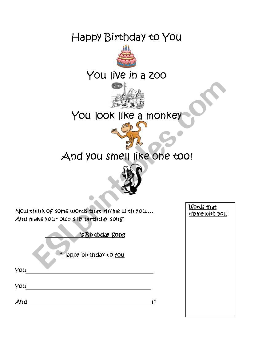 A Funny Birthday Song Esl Worksheet By Mohlj81