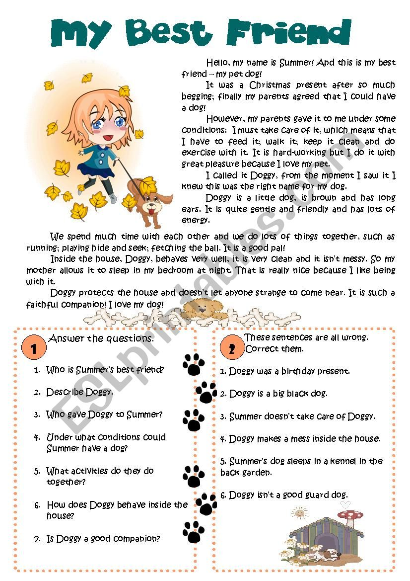 - My Best Friend - Easy Reading Comprehension - ESL Worksheet By