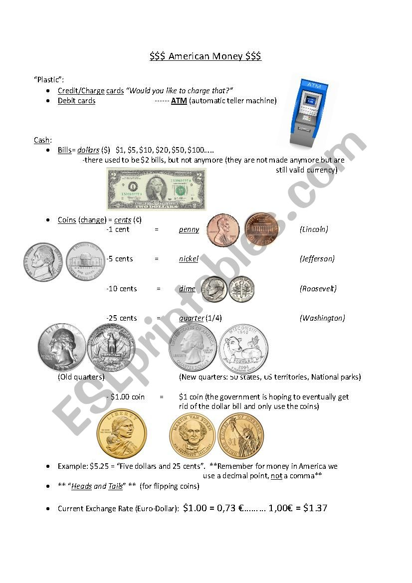 American Money worksheet