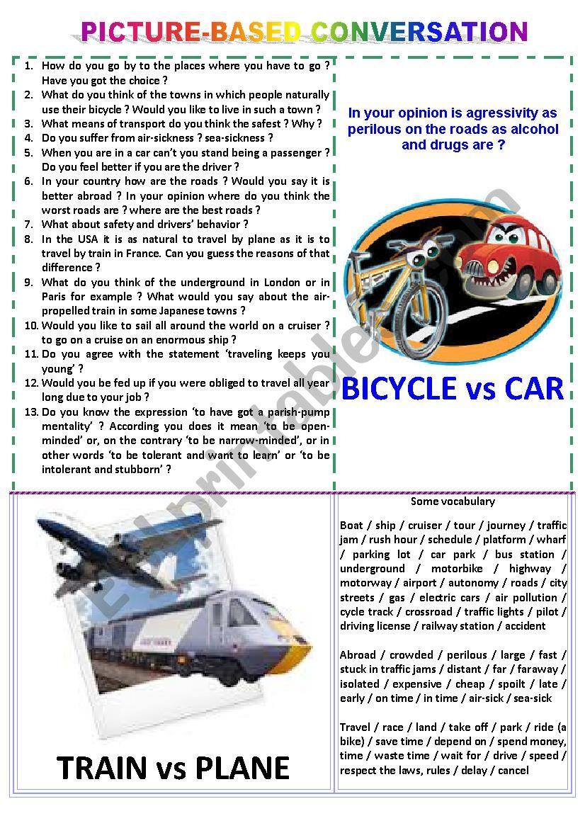 Picture-based conversation : topic 37 - bike vs car & train vs plane