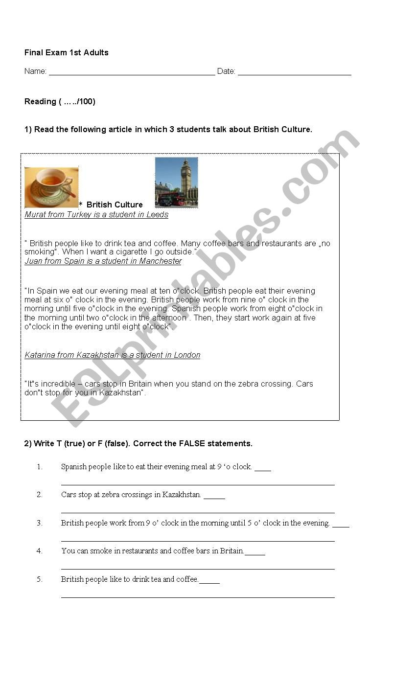 Exam for ESL adults - Elementary level (coursebook: New English File Elementary)