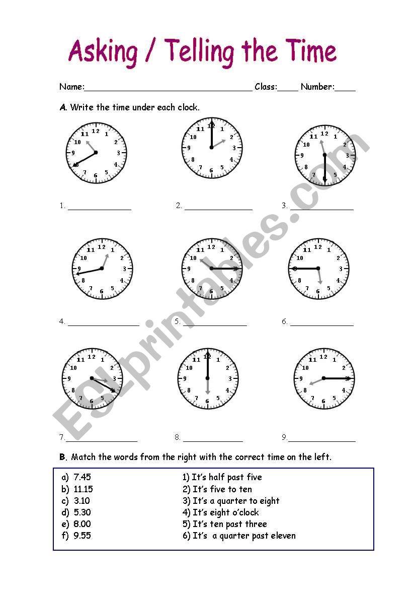 asking telling the time esl worksheet by manuelanunes3. Black Bedroom Furniture Sets. Home Design Ideas