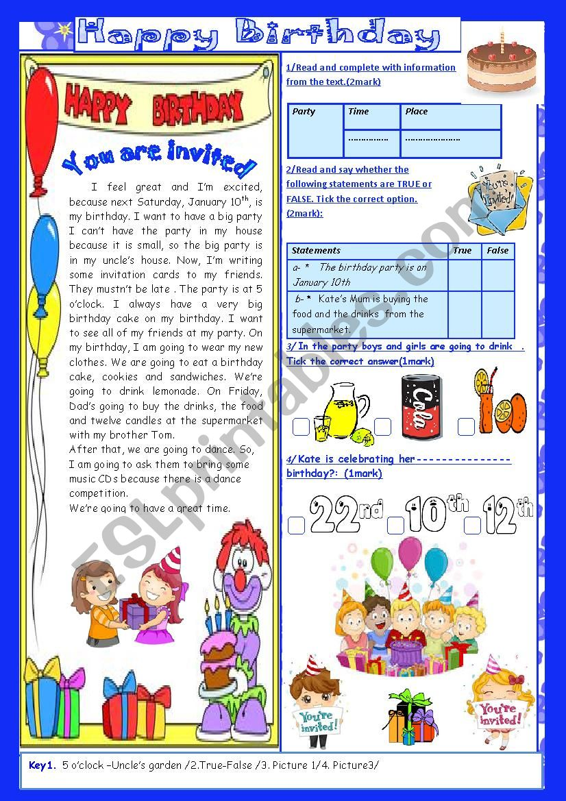 Happy Birthday(End of Term2 Test 7th form)2Parts: Reading Comprehension+Language+Key.