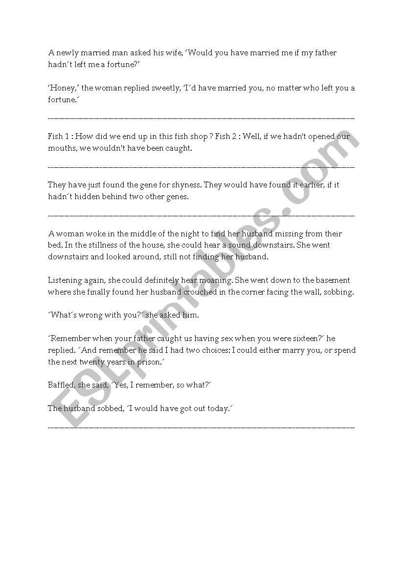 Third conditional jokes worksheet
