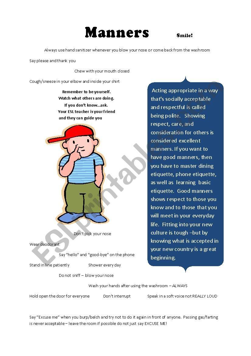 Manners  worksheet