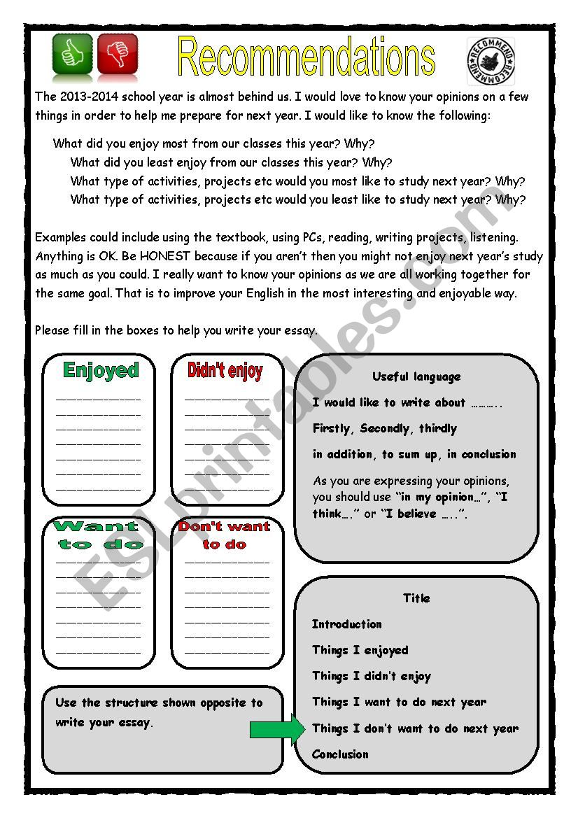 Recommendations essay worksheet