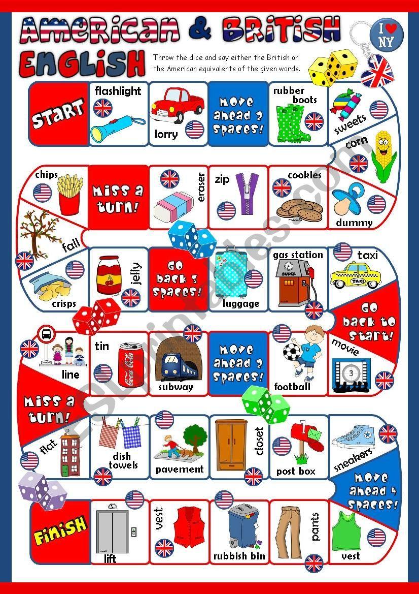 British vs American English - boardgame *KEY included*