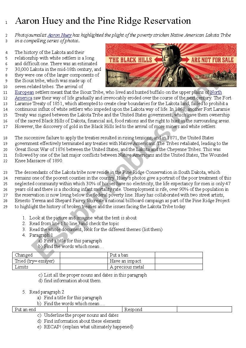 Pine Ridge reservation worksheet
