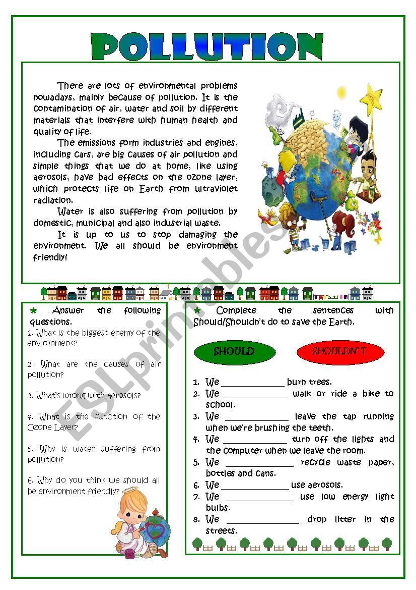- Pollution - Reading Comprehension - ESL Worksheet By Sarasantos