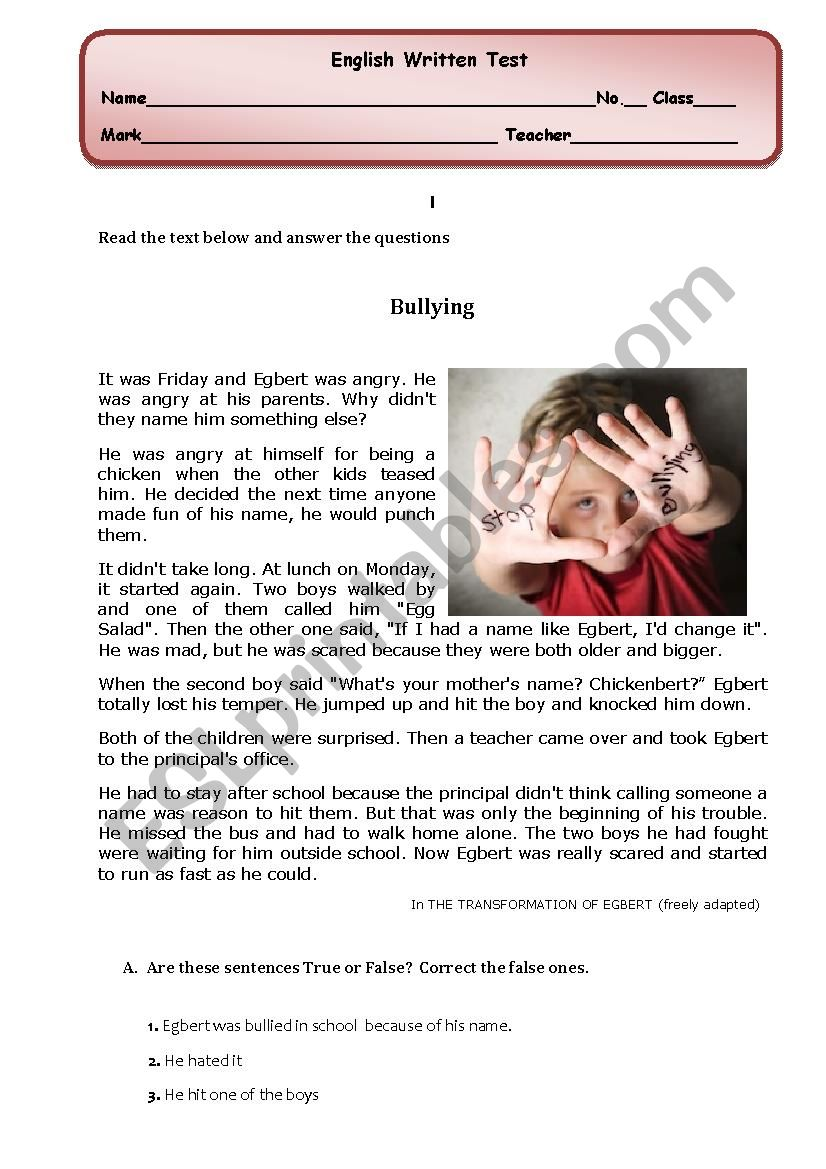 Bullying: reading comprehension/ written test