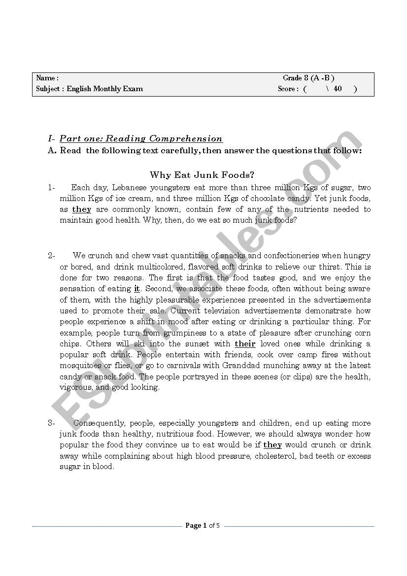 Junk Food - ESL worksheet by 7inno