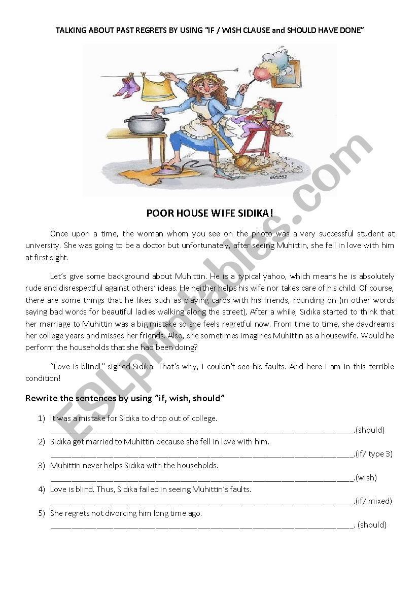 talking about regrets in the past - ESL worksheet by kaqpa