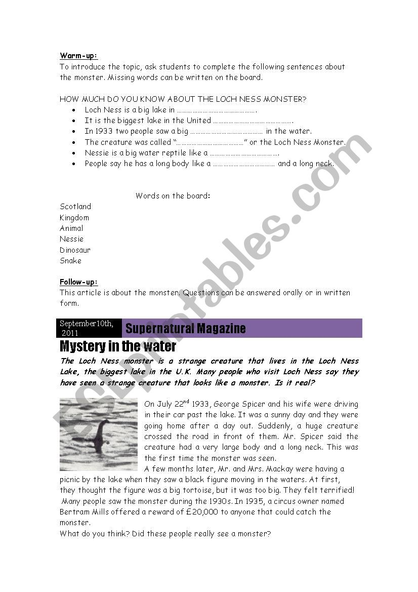 The Loch Ness Monster Project worksheet