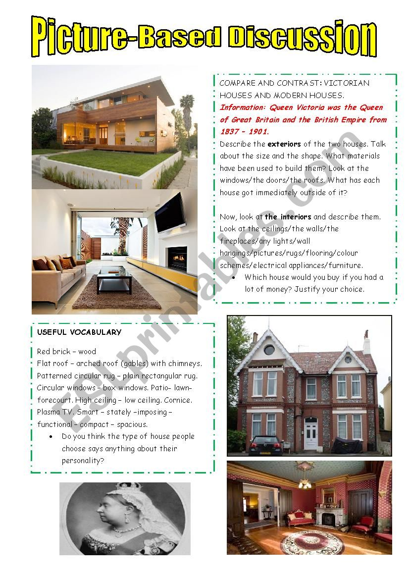 Modern Houses Vs Victorian Houses Esl Worksheet By Cunliffe
