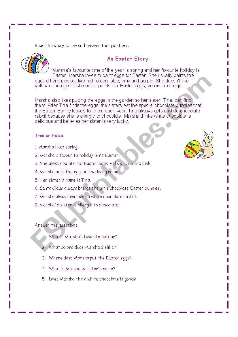 Easter Story worksheet