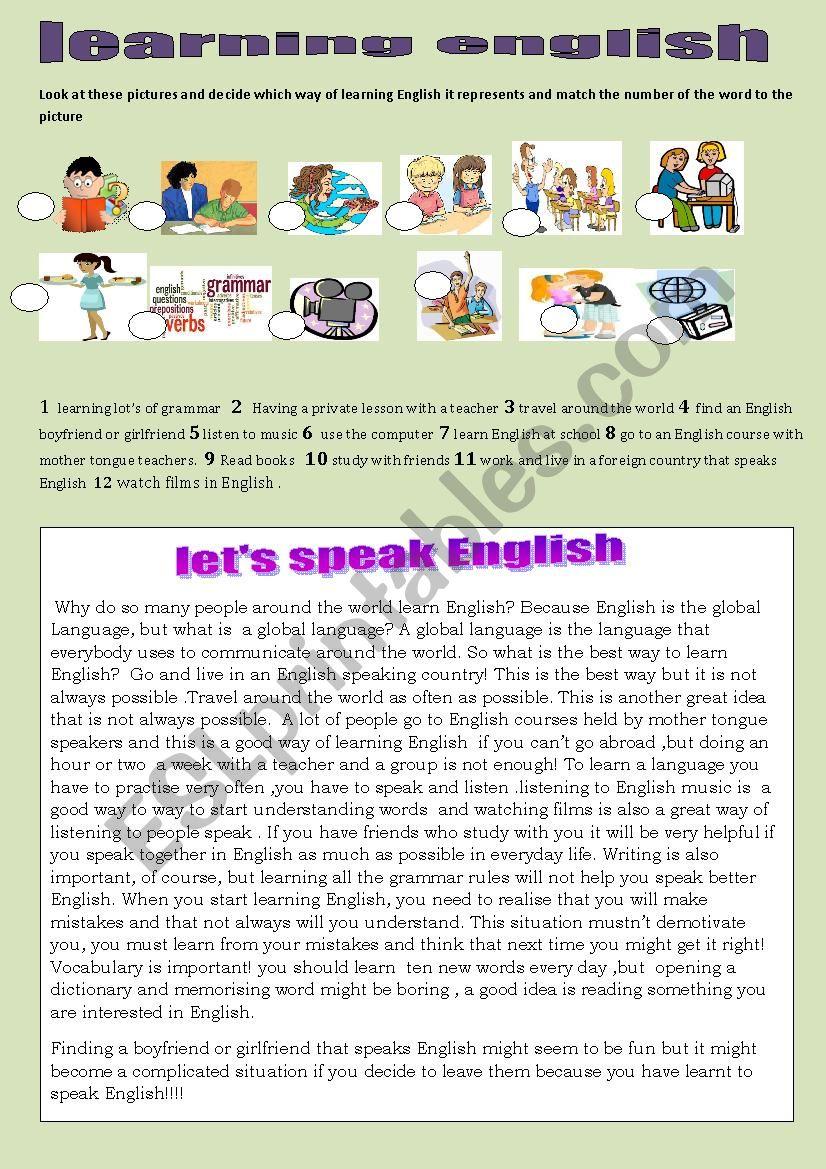 learning english worksheet