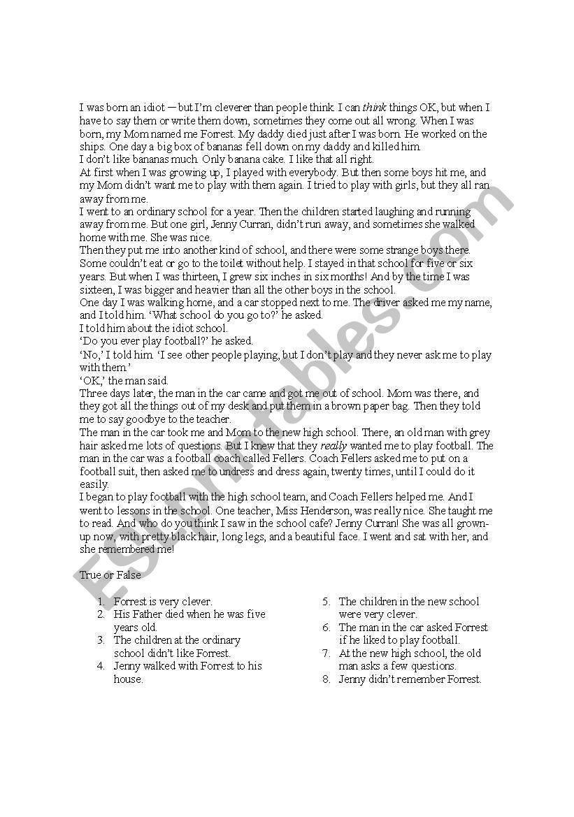 Pre Intermediate Reading Prehension Test With Grammar