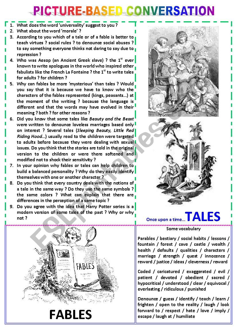 Picture-based conversation : topic 46 - tales vs fables
