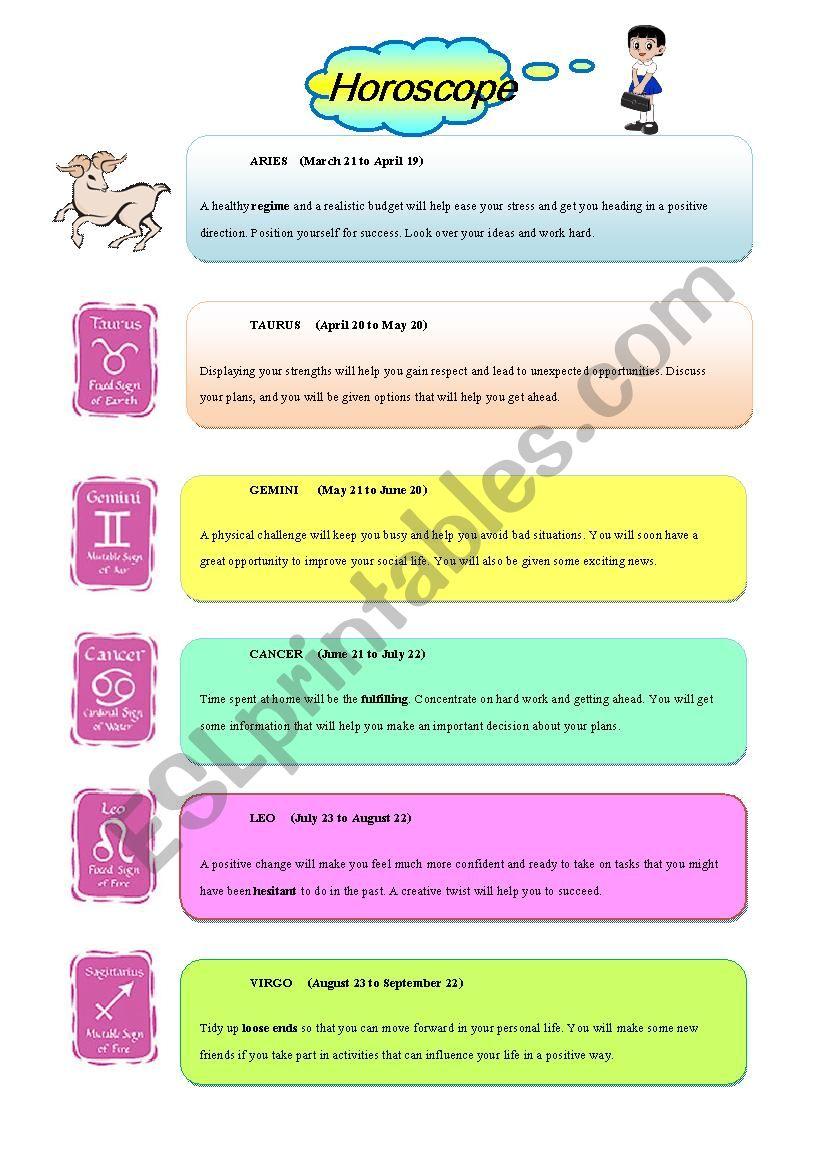 c47ff494f3af47 Horoscope - ESL worksheet by chayada