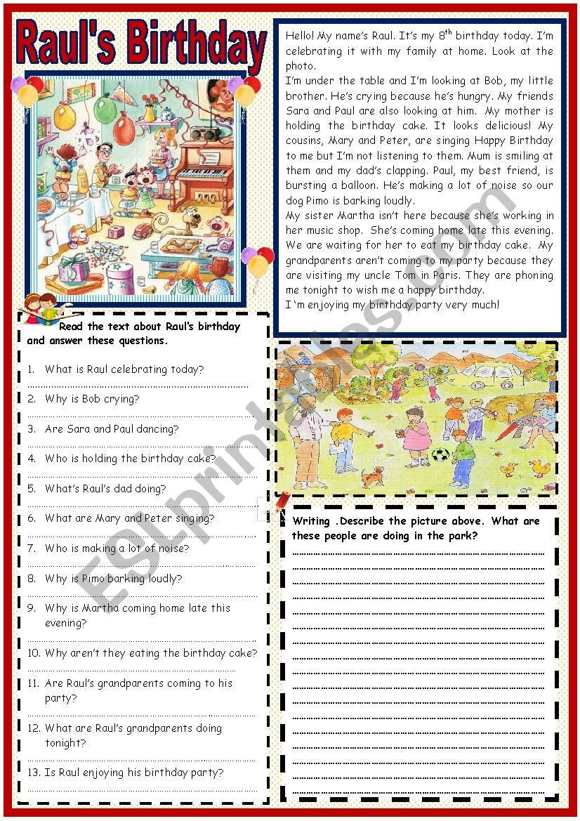 Raul´s Birthday Party worksheet