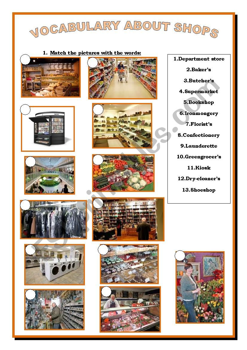 Vocabulary of shops worksheet