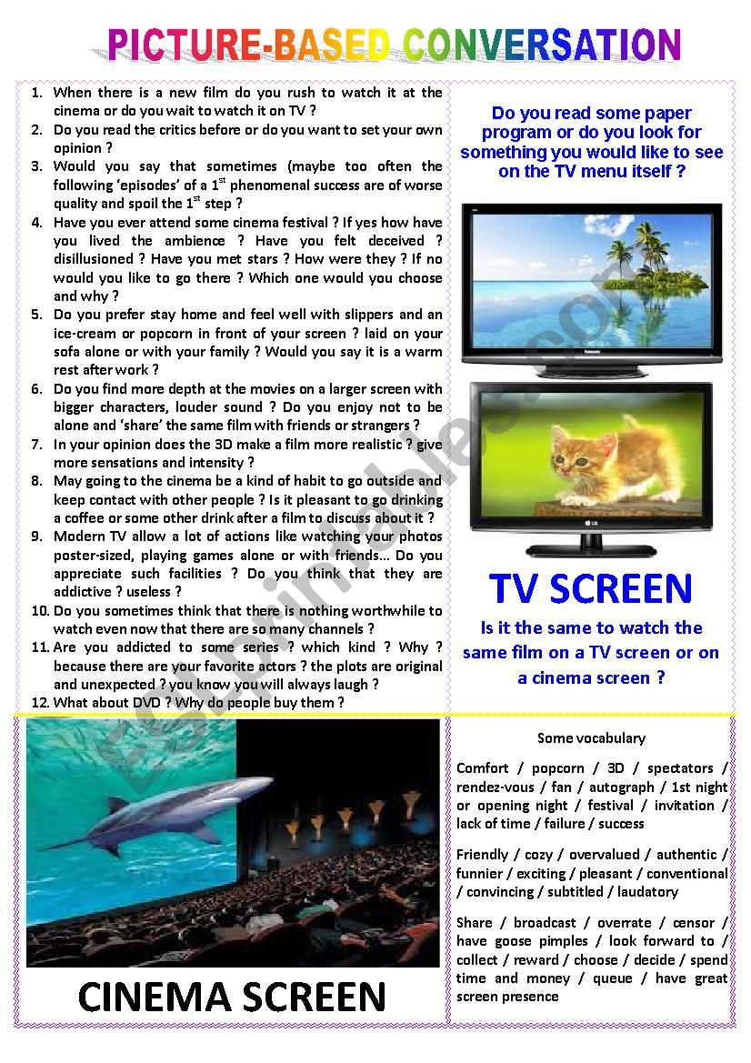 Picture-based conversation : topic 51 - TV screen vs cinema screen