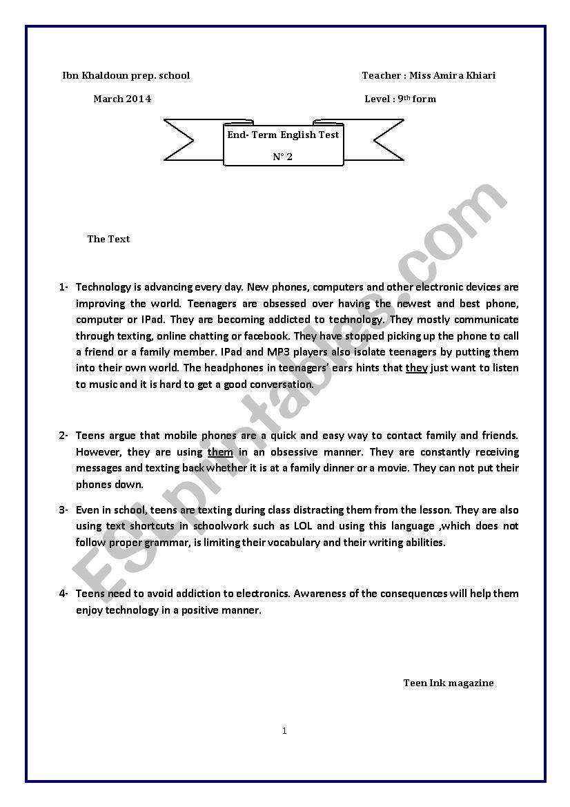 mid term test 2 worksheet