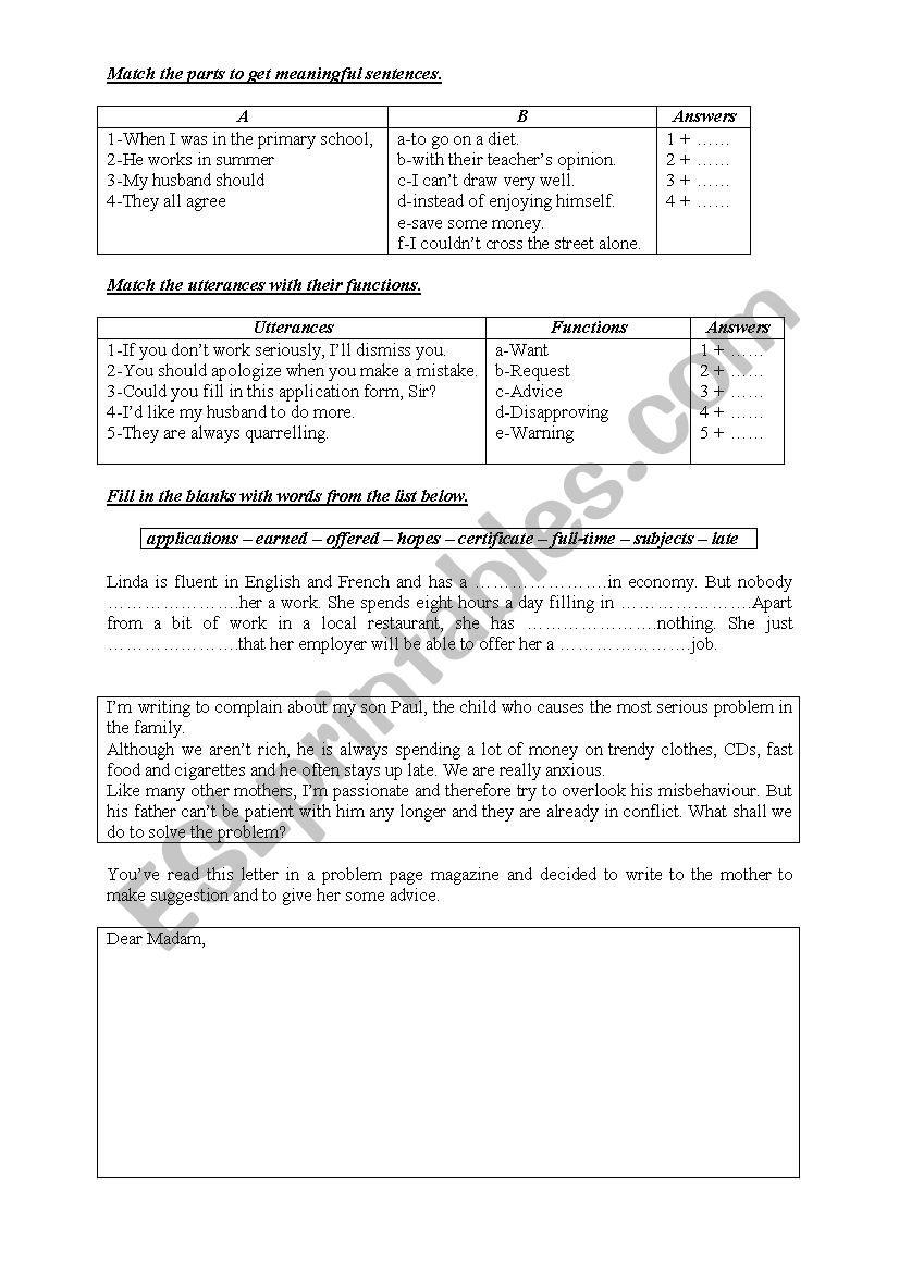 consolidation worksheet worksheet