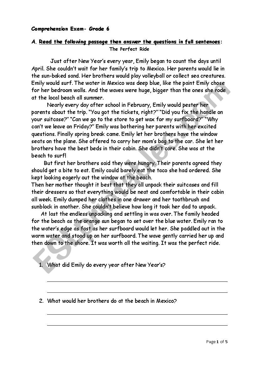 The Perfect Ride worksheet